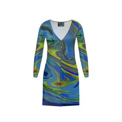 Short Ladies Cardigan - Abstract Diesel Rainbow 3