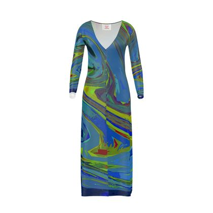 Long Ladies Cardigan - Abstract Diesel Rainbow 3