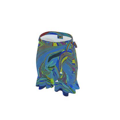 Short Flounce Skirt - Abstract Diesel Rainbow 3