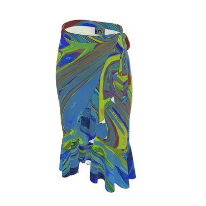 Long Flounce Skirt - Abstract Diesel Rainbow 3