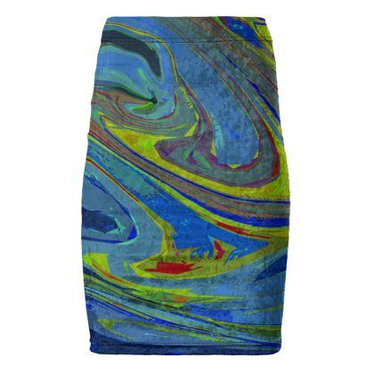 Pencil Skirt - Abstract Diesel Rainbow 3