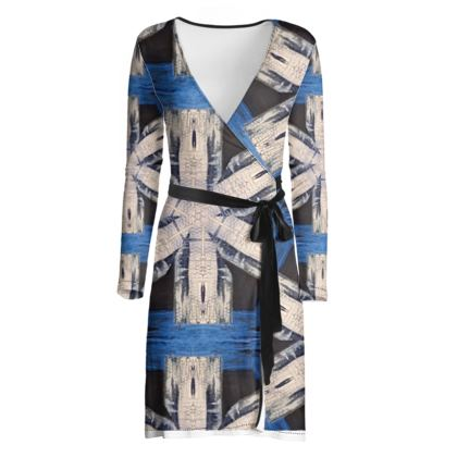 Wrap Dress, Abstract Snowflakes