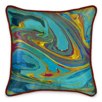 Silk Cushions - Abstract Diesel Rainbow 1