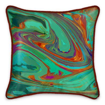 Silk Cushions - Abstract Diesel Rainbow 2
