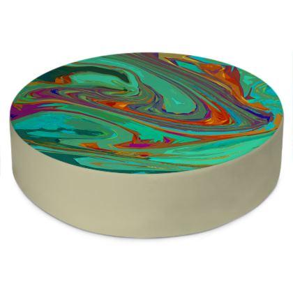 Round Floor Cushions - Abstract Diesel Rainbow 2