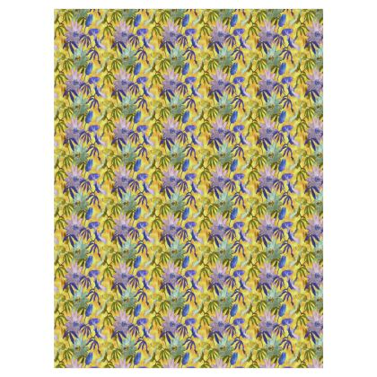 Curtains Yellow Floral [ split pair with 40 mm eyelets shown].  Passion Flower  Radiance
