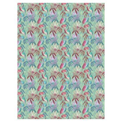Curtains, Teal, [split pair, D 183 cm x W 137 cm shown]  Passionflower  Teal Passion