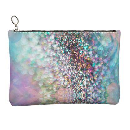 Leather Clutch Bag - Emmeline Anne Rainbow Stones