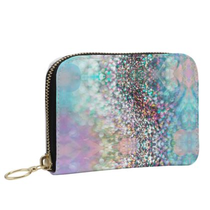 Small Leather Zip Purse - Emmeline Anne Rainbow Stones