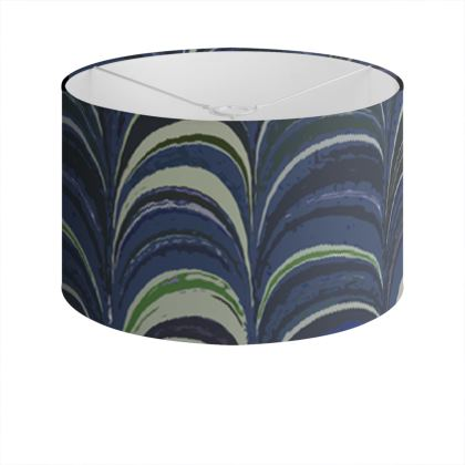 Drum Lamp Shade - Around Ex Libris Blue Remix (1800 -1950)