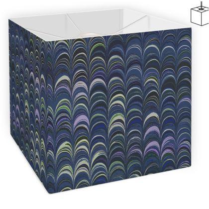 Square Lamp Shade - Around Ex Libris Blue Remix (1800 -1950)