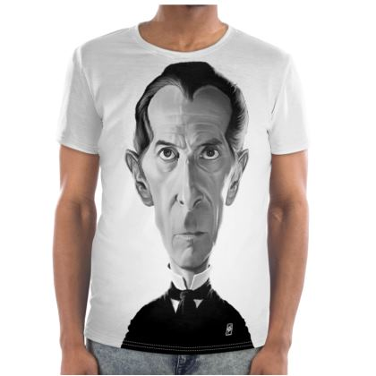 Peter Cushing Celebrity  Caricature Cut and Sew T Shirt
