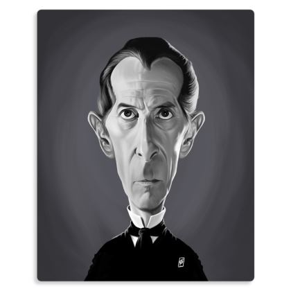 Peter Cushing Celebrity Caricature Metal Print