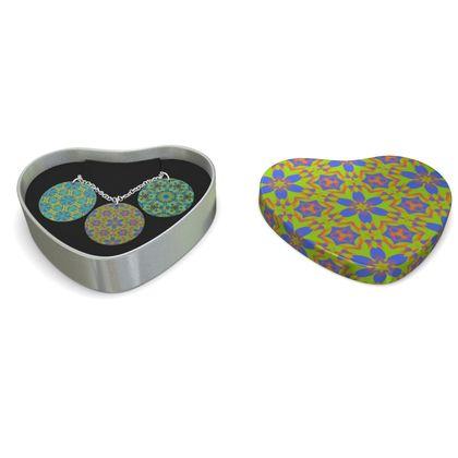 Triple Silver Disk Pendant, yellow, blue   Geometric Florals   Hidden Gems, Lazy Daisy, Moonbase