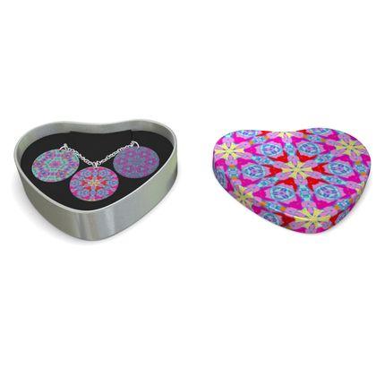 Triple Silver Disk Pendant Mauve  Geometric Florals   Mulberry Bush, Nouveau, Pansy