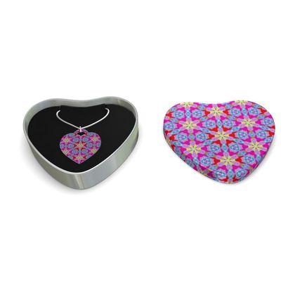 Sterling Silver Heart Pendant, Mauve  Geometric Floral  Nouveau
