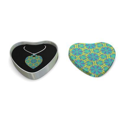 Sterling Silver Heart Pendant, Green,  Geometric Florals   Hidden Gems