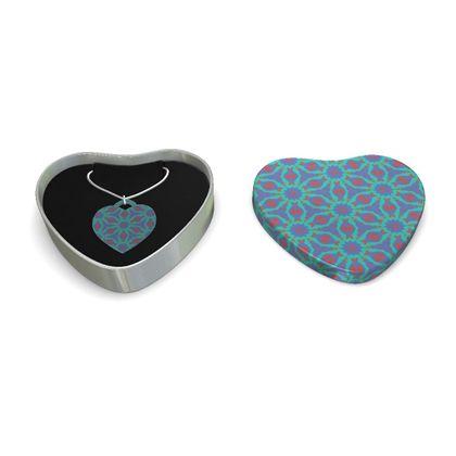 Sterling Silver Heart Pendant Turquoise  Geometric Florals   Geometric Florals   Temple