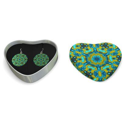 Sterling Silver Earrings Green   Geometric Florals   Moonbase