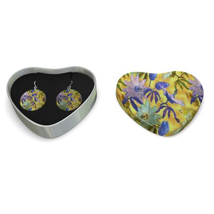 Sterling Silver Earrings Yellow Floral   Passionflower   Radiance