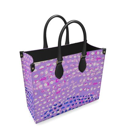 Textural Collection multicolored in mauve and blue Leather Shopper Bag