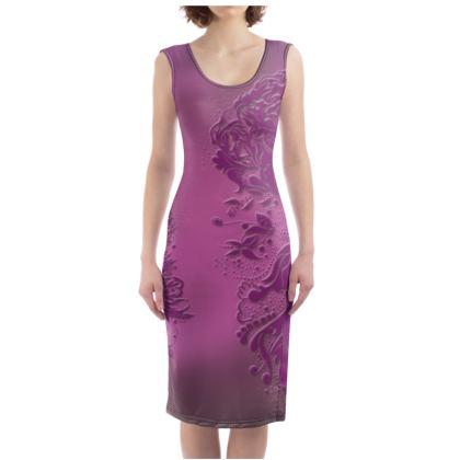 Bodycon dress - Fodralklänning - Ink Flower Lila