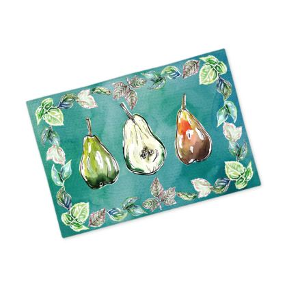 Watercolor Pears - Fabric Placemat [blue/green background]