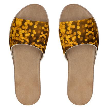 Women's Leather Sliders- Emmeline Anne Golden Lights