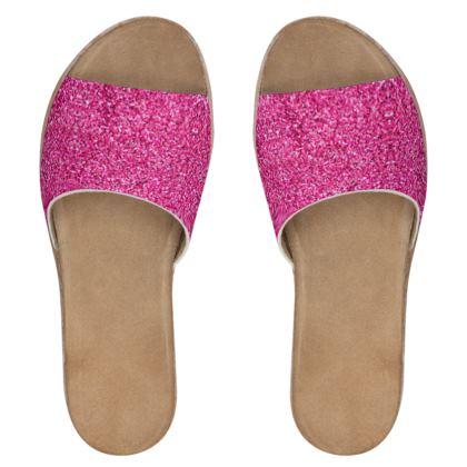 Women's Leather Shoes- Emmeline Anne Pink Glitter Effect