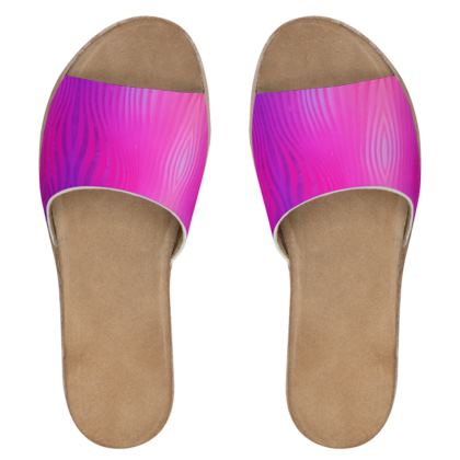 Women's Leather Sliders- Emmeline Anne Glamourous Stripes Pink