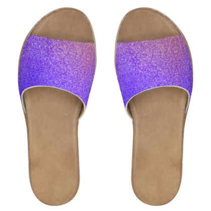 Women's Leather Sliders- Emmeline Anne Purple Sparkle Effect