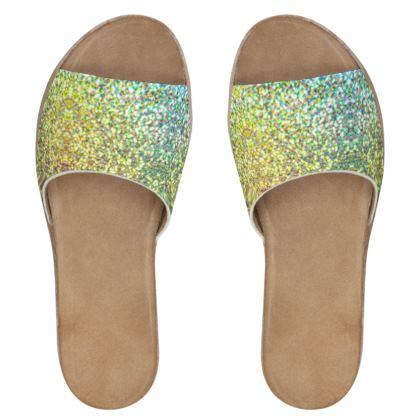 Women's Leather Sliders- Emmeline Anne Gold/Green Sparkle Effect