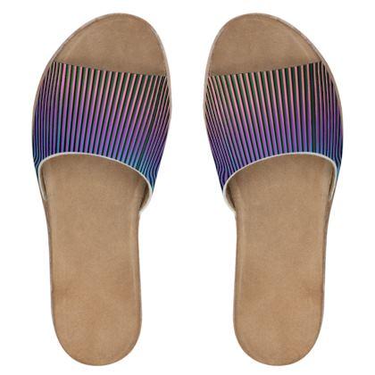 Women's Leather Sliders- Emmeline Anne Ombré Stripes