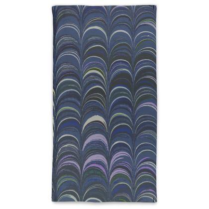Neck Tube Scarf - Around Ex Libris Blue Remix (1800 -1950)