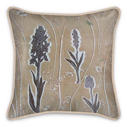 'Orchis Trio' Silk Cushion