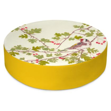 Gorgeous Goldfinch green, gold and red Round Floor Cushion
