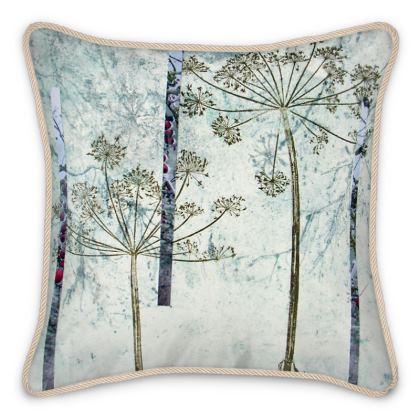 'Winter White' moody blue-grey Silk Cushion