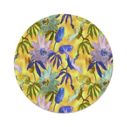 Serving Platter Yellow, Blue, Floral   Passionflower   Radiance