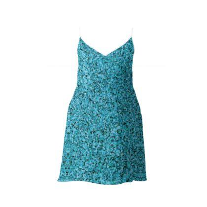 Slip Dress- Emmeline Anne Teal Sparkle Effect