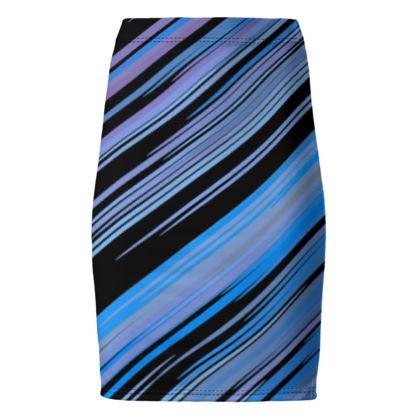 Pencil Skirt- Emmeline Anne Cool Blue and Black