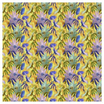 Voile Curtains Yellow, Mauve Floral [183 cm x 183 cm]  Passionflower   Radiance
