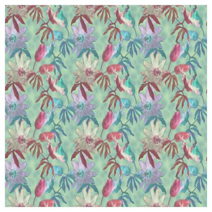 Voile Curtains, Teal, Floral   Passionflower   Teal Passion