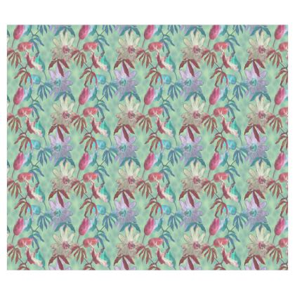 Roller Blinds Teal, Floral [126 cm x 110cm]  Passionflower   Teal Passion