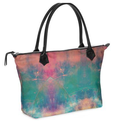 Zip Top Handbag- Emmeline Anne Colourful Clouds