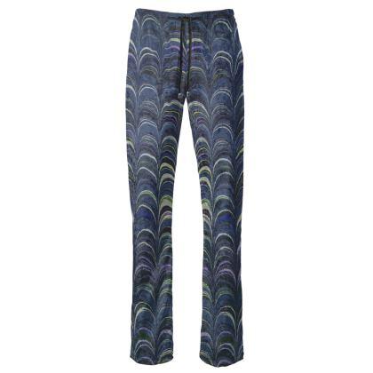 Womens Trousers - Around Ex Libris Blue Remix (1800 -1950)