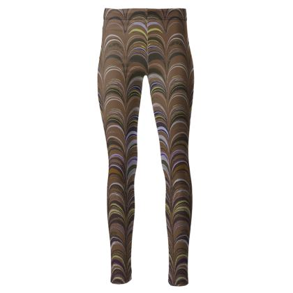 High Waisted Leggings - Around Ex Libris Brown Remix (1800 -1950)