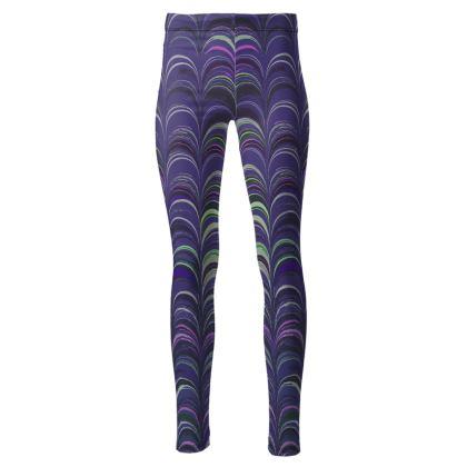 High Waisted Leggings - Around Ex Libris Purple Remix (1800 -1950)