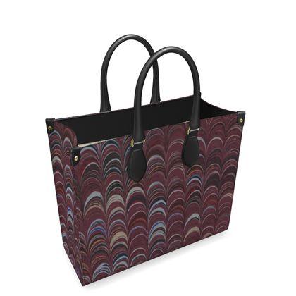 Leather Shopper Bag - Around Ex Libris Remix (1800 -1950)