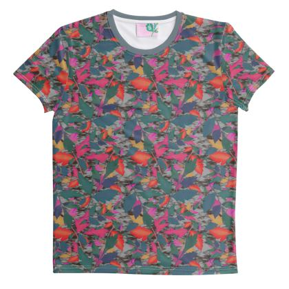 Cut And Sew All Over Print T Shirt XS shown   Diamond Leaves   Grey Neon