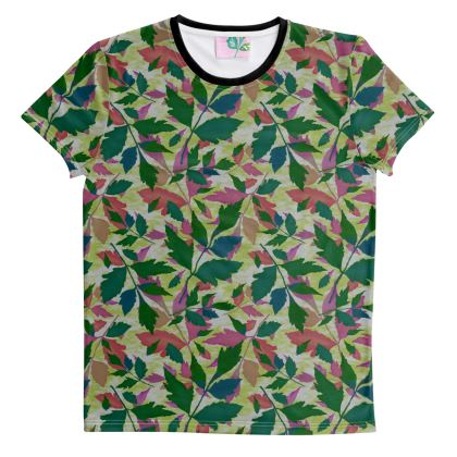 Cut And Sew All Over Print T Shirt XS shown   Cathedral Leaves  Muted